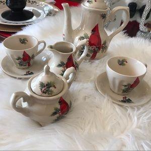 Lily creek tea set red bird Christmas ceramic
